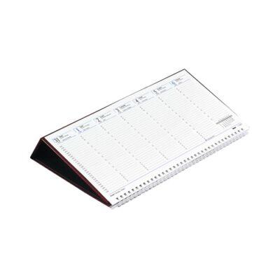Asztali naptár kép nélküli Toptimer T050 fekvő fehér lapos bordó 2019.