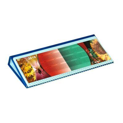 Asztali naptár képes Csízió fekvő fehér lapos idézetes PVC hátlap kék 2019.