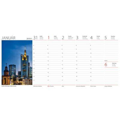 Asztali naptár képes Dayliner álló fehér lapos Európa 2019.