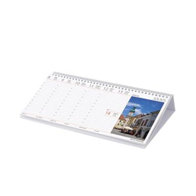 Asztali naptár képes Dayliner fekvő fehér lapos Magyarország 2019.