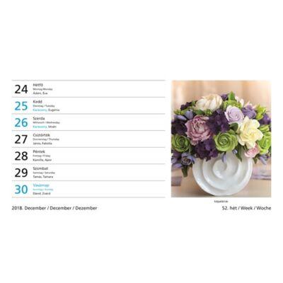 Asztali naptár képes Toptimer T058 álló fehér lapos Virágok 2019.