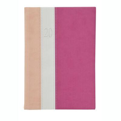 Határidőnapló Toptimer Fashion F021 A/5 napi álló fehér lapos rózsaszín-fehér-mályva 2020.