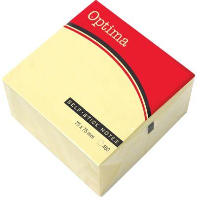 Öntapadós jegyzet OPTIMA 75x75mm sárga 450 lap