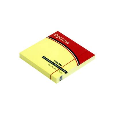 Öntapadós jegyzet OPTIMA 75x75mm neon sárga 100 lap