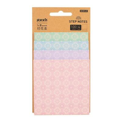Öntapadó jegyzettömb STICK`N Magic Pad lépcsős In Blooom virág 4 méret 4 színx25 lap