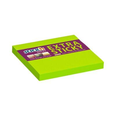 Öntapadó jegyzettömb STICK`N extra erős 76x76mm neon zöld 90 lap